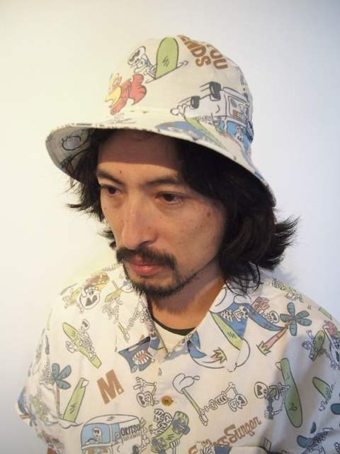 endless surfer pattern bucket hat (M×okitsu surfbards×Mie ishii)