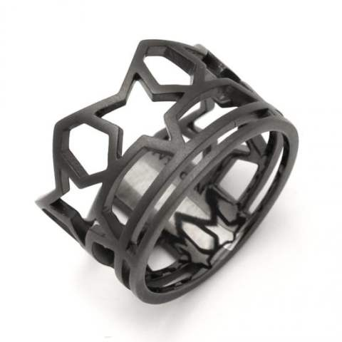 SKELETON FIVE STAR RING/MATTE BLACK