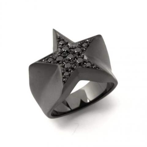 STAR PAVES PINKY RING/MATTE BLACK DIAMOND