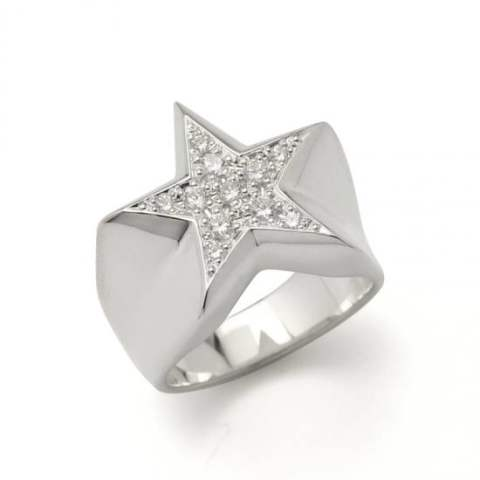 STAR PAVES PINKY RING/SILVER DIAMOND