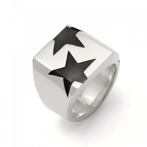 BIG THREE STAR PINKY RING silver