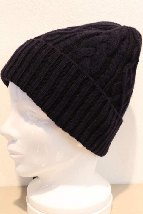 plating cable knit cap/navy×black