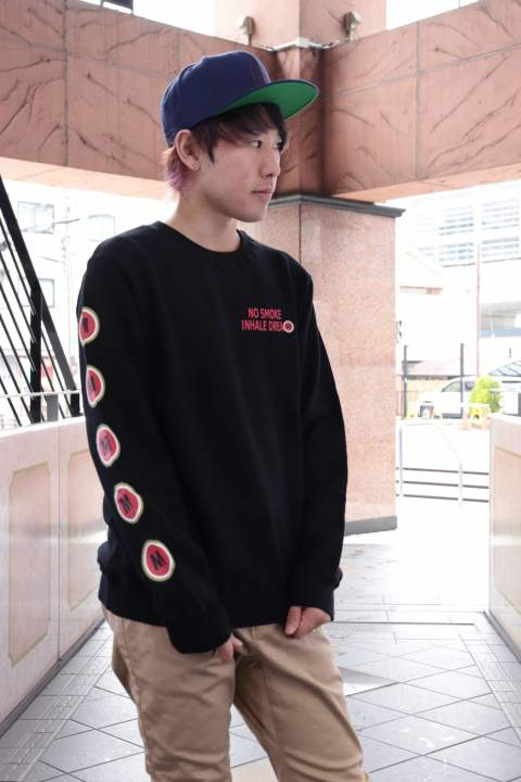 washed pullover swet shirt(lucky M )/Black
