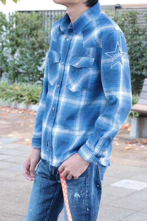 M / washed indigo check western shirts (blue)