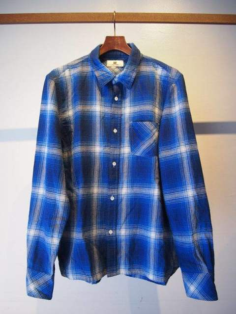 17AW-MSH002 /M  washed indigo check shirts