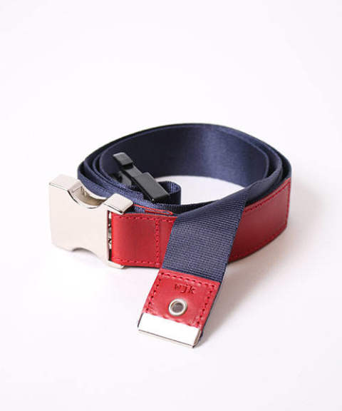 nylon cow leather tape belt/navy x red