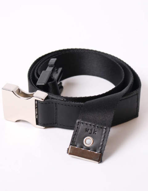 nylon cow leather tape belt/black