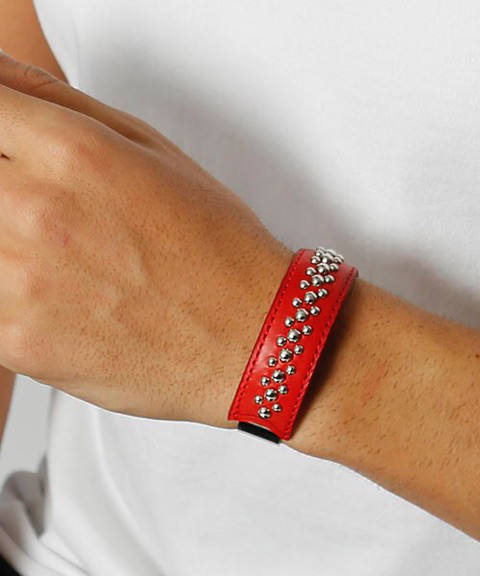 wrapped leather bangle/15mm red