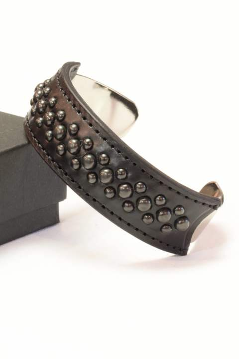 wrapped leather bangle/15mm black