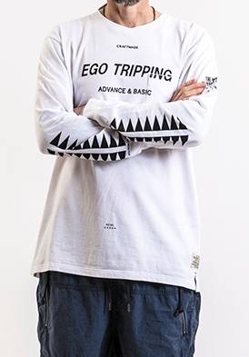 【EGO TRIPPING】 SPINE TEE L-S Tシャツ/WHITE