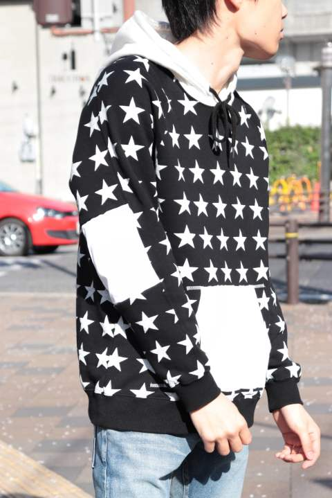 【M】sweat pull over hoodie (star pattern)/black