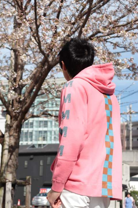 【M】sweat pull over hoodie (checker)/pink