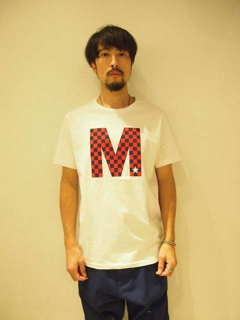 【M】crew neck t-shirts(checker)/white