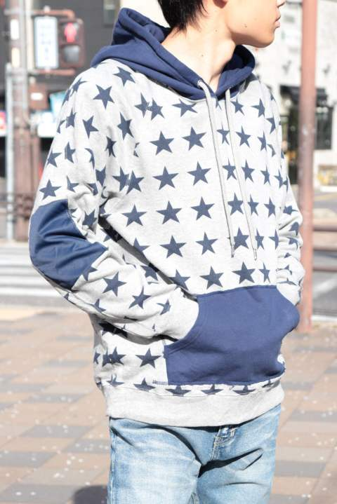 【M】sweat pull over hoodie (star pattern)/heather gray