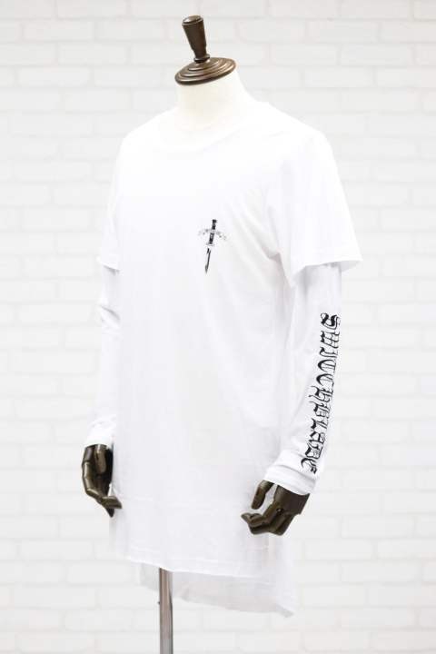 【SWITCHBLADE】 EMBROIDERY LAYERED L/TEE/ホワイト