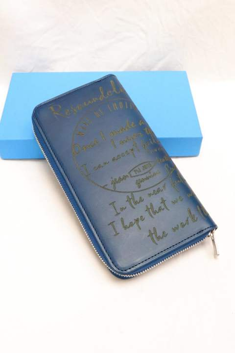 【RESOUND CLOTHING】Buttero Leather calligraphy wallet/BLUE