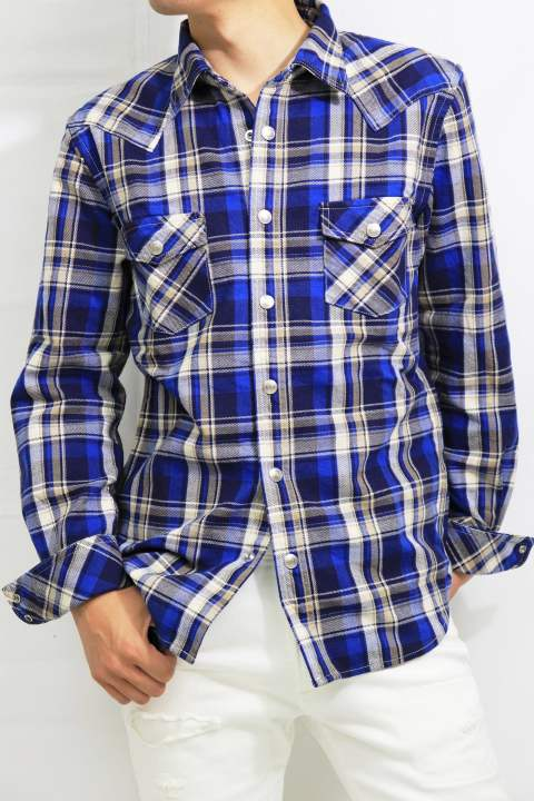 【RESOUND CLOTHING】RC9 James OLD CHECK shirt/BLUE