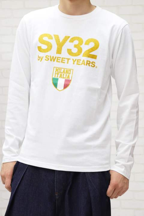 【SY32】GOLD EMBLEM GRAPHIC L/S TEE/WHITE