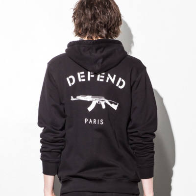 DEFEND PARIS  ZIP フードパーカ/BLACK