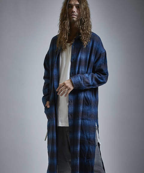 【EGO TRIPPING】CHECK SHOPCOAT/NAVY