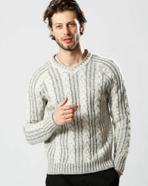 【wjk】 plating cable knit V/N/ニット/white