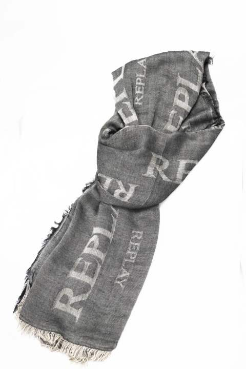【REPLAY】VISCOSE SCARF LOGO/GRAY