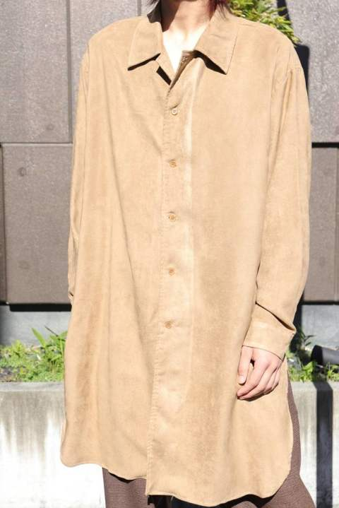 〔Iroquois〕E/SUEDE ロングシャツ/BROWN