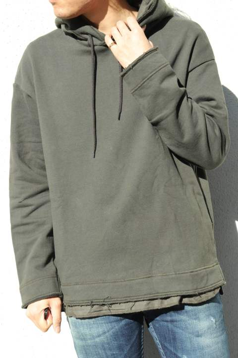 【EGO TRIPPING】LAYERED HOODED SWEAT PARKER/KHAKI
