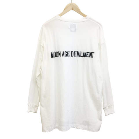 【MOON AGE DEVILMENT】【予約】 Embroidery Over L/S T-Shirts/WHITE