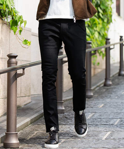【wjk】skinny denim/BLACK