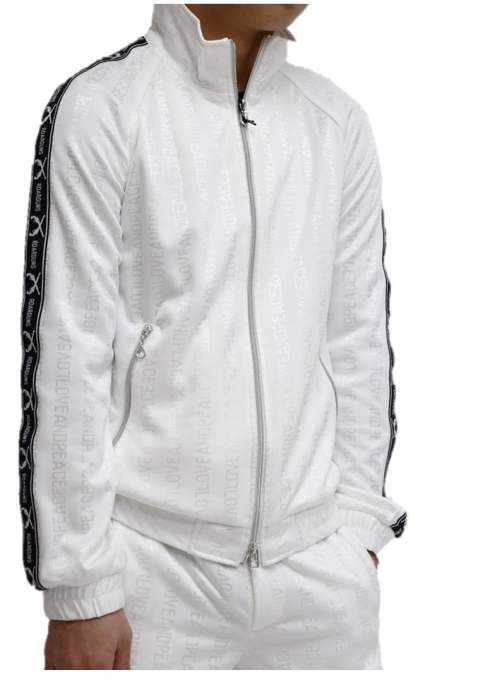 【roarguns】LOVE&PEACE JACQUARD TRACK JACKETスワロフスキークロス/WHITE
