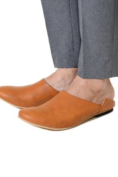 BABOUCHE''LEATHER FLAT-SHOES/CAMEL【SENTI Iroquois】
