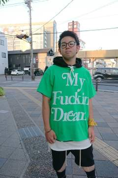 【M】 crew neck BIG t-shirts (BIG My Fuckin' Dream) /green