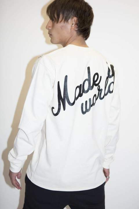 crew neck long tee amps logo white【MADE IN WORLD☆&CO】