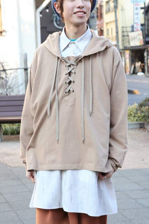 LACE UP HOODIE/BEIGE【Iroquois】
